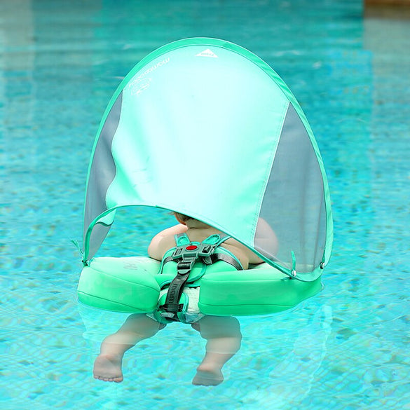 UPF 50 Mambo baby swim float swimming ring UV-protection baby floating with canopy no need Inflatable neck Floats Swim Trainer