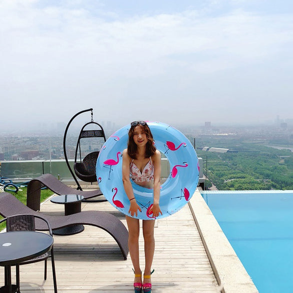 120cm Floral Print Swimming Circle Inflatable Flamingo Swimming Ring Transparent Blue Inflatable Donut Lifebuoy Floating Island