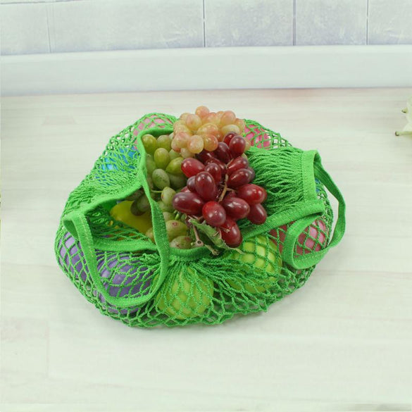 Mesh Net Shopping Bag Reusable Grocery Bag Eco Friendly Woven Cotton Bag Totes Fruit Storage Handbag Casual Handbag One Piece