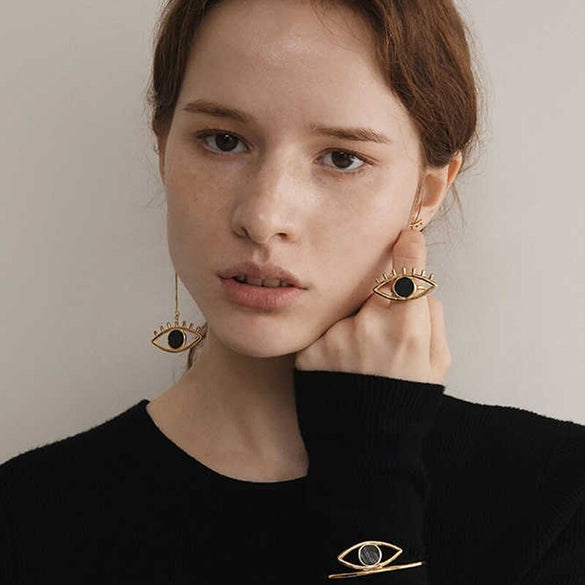 2018 New Asymmetric Charming Big Evil Eye Statement Dangle Earrings Super Long Earrings boucles d'oreilles Brincos Jewelry