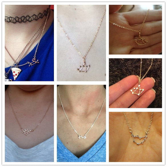 QIMING 12 Constellation Zodiac Sign Necklace For Women Gold fashion Jewelry Leo Libra Aries Pendant Horoscope Astrology Necklace