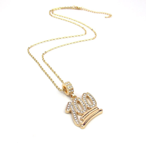 2018 Fashion Simple Hollow Necklace Gold Full White Rhinestone 100 Points Pendant Jewelry Student Bling Necklaces Jewelry Gift