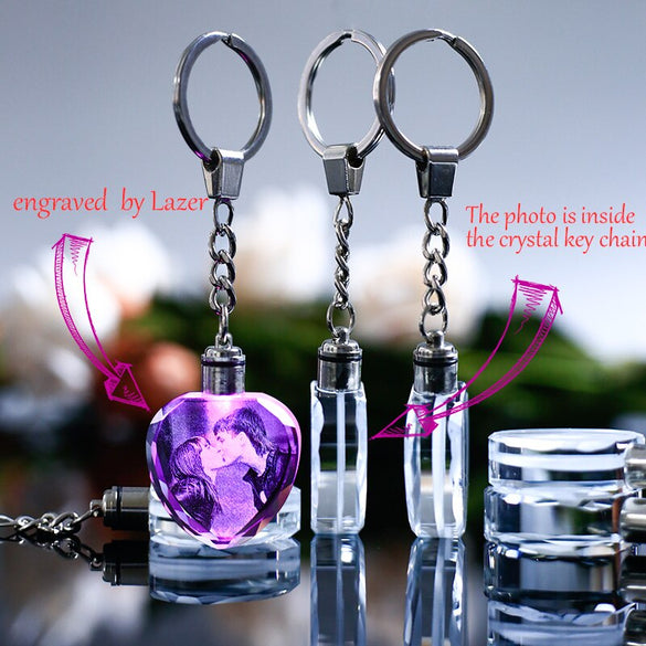 Colorful Crystal Key Chain Photo LED Light Keychain Fashion Luminated Keyring Heart Shaped Glass Picture Baby Souvenir Gifts
