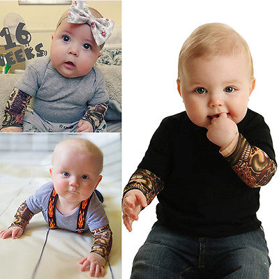 Cute Toddler Newborn Infant Baby Boy Tattoos Jumpsuit Fashion Baby Boy Black Bodysuit Kids Gray Clothes Outfits