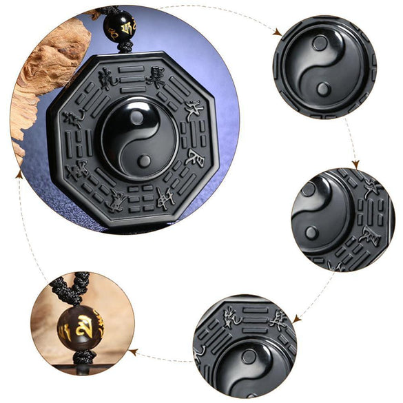 Drop Shipping Black Obsidian Yin Yang Necklace Pendant Chinese BAGUA pendent Men's Jewelry Women's Jewelry