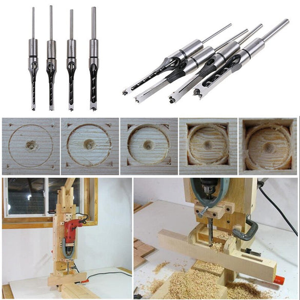 4PCS HSS Twist Drill Bits Woodworking Drill Tools Kit Set Square Auger Mortising Chisel Drill Set Square Hole Extended SawTP-021