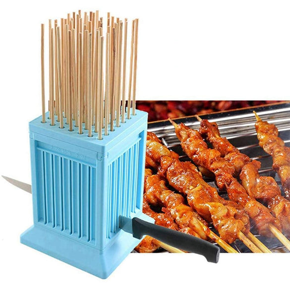 BBQ meat skewer tools 49 Holes beef meat tofu Skewer Kebab Maker Box Machine Grill Barbecue Kitchen Accessories Camping tools