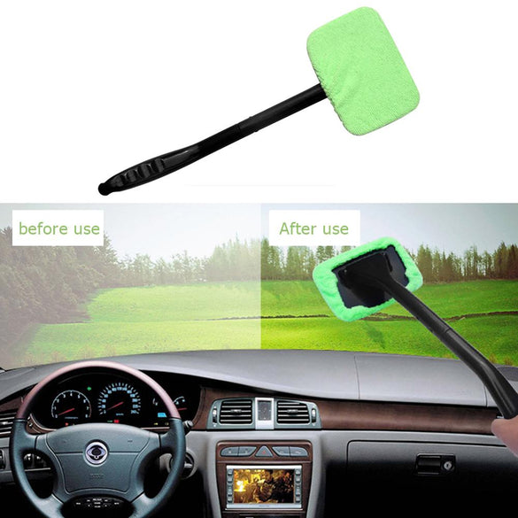 Microfiber Auto Window Cleaner Long Handle Car Wash Brush Rag Windshield Glass Wiper Car Cleaning Brush Detailing Care