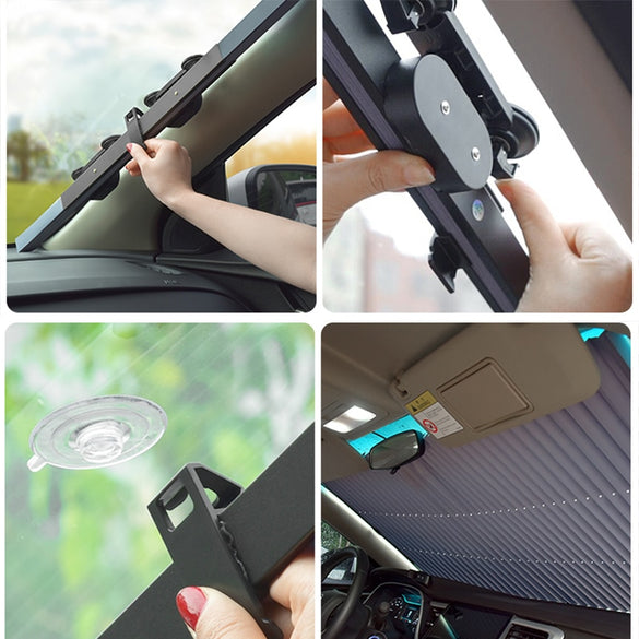Car Windshield Curtain Retractable Set Folding Car Sunshade Cover Reflective Film Curtains Anti-UV Car Sun Shade 45cm/65cm/70cm