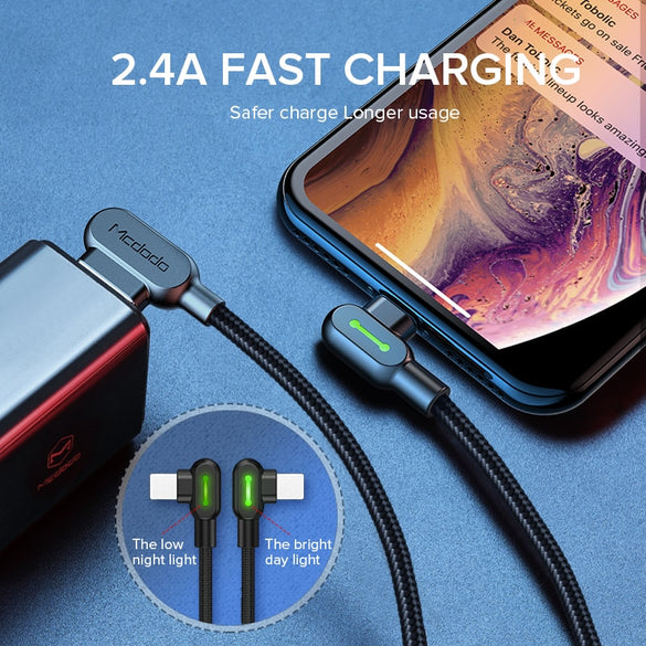 MCDODO 3m 2.4A Fast USB Cable LED Charging Cable Mobile Phone Charger Cord Data Cable For iPhone 11 Pro XS MAX XR X 8 7 6s Plus