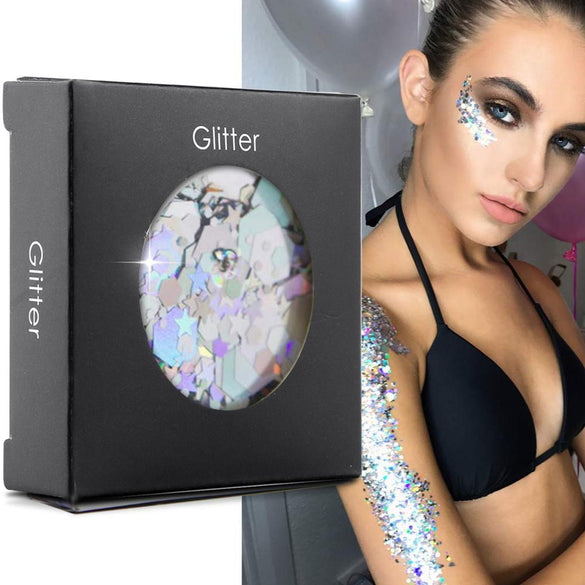 Cosmetic Glitter For Face, Body ,Hair - Chunky Silver Holographic Glitter Mix Essential Festival and Rave Beauty Makeup Glitter
