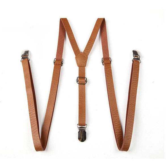 Adult Suspenders Faux Leather Suspender Men Y-Shape Braces Adjustable Clip-On Belt Slim Suspender Pants Jeans Braces (Brown)