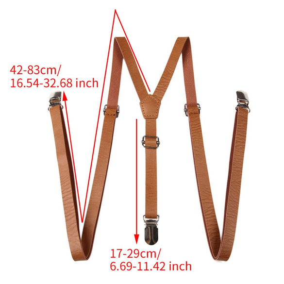 Adult Suspenders Faux Leather Suspender Men Y-Shape Braces Adjustable Clip-On Belt Slim Suspender Pants Jeans Braces
