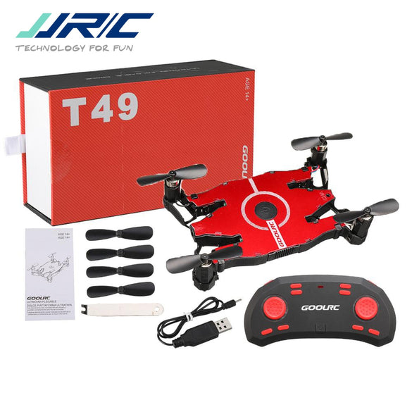 JJR/C JJRC T49 SOL Ultrathin Wifi FPV Selfie Drone 720P Camera Auto Foldable Arm Altitude Hold RC Quadcopter VS H49 E57 H37 (Red)