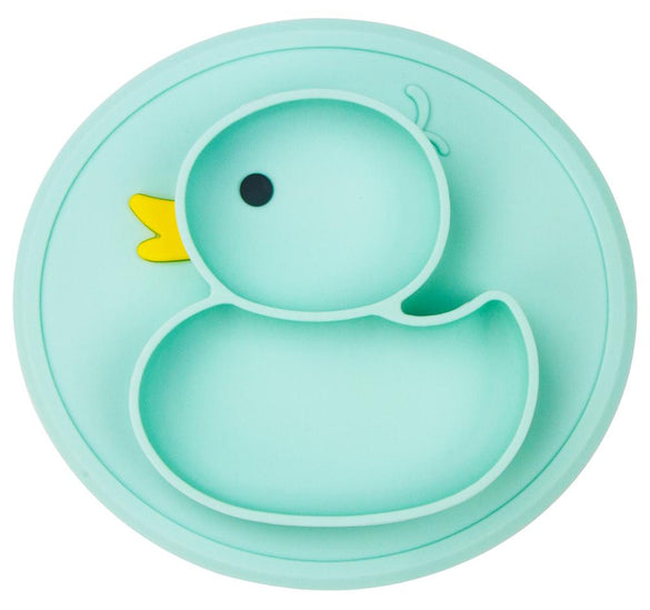 Qshare Baby Plate Duck Dishes Table Mat Silicone platos Suction Tray Antislip Mini Mat Children Kids Meal Fruits Feeding pratos