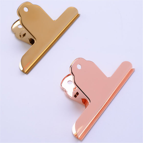1PC Nordic Stainless Steel Large Sealing Clip Luxury Gold Rose Gold Metal Clips Paper Documents Binder Clip Tickets Photo Clamps