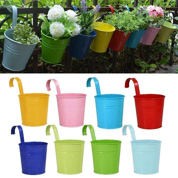 Flower Pots Hanging Flower Pots, Garden Pots Balcony Planters Metal Bucket Flower Holders - Detachable Hook (8 Pcs)
