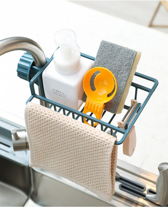 1 Pc Drain Rack Kitchen Multi Purpose Clip Type Pool Rag Soap Storage Rack Sponge Rack Useful Sink Shelf Tool Dish Cloths Rack