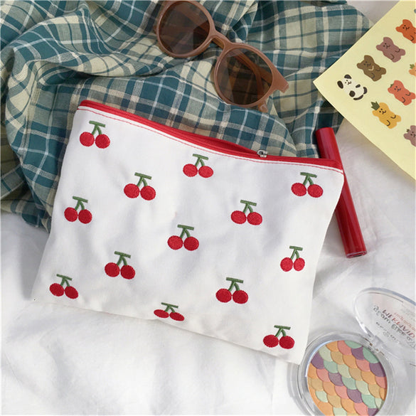 SIXONE INS Canvas Cherry Embroidery Pencil Case Cosmetic Bag Korean Kawaii Storage Bag Concise Cute Student Пенал Stationery