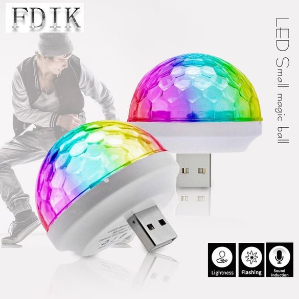 LED USB Music Sound Control Lamps Multicolor DJ Atmosphere lamp Small Magic ball Bulb 4W DC 5V LED Light Stage lighting effect