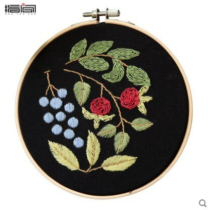 Floral Embroidery Set Full Range Of Cross Stitch Stamped Embroidery Cloth Bordar A Mano Herramientas Punch Needle Embroidery Kit