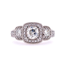 Load image into Gallery viewer, Lady's Pt. 3 Stone Sq Halo Diamond Engagement Ring