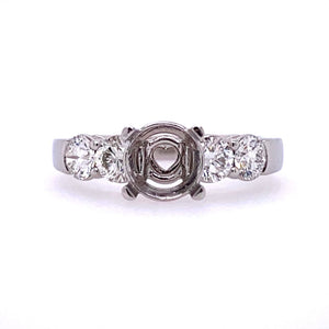 Lady's Pt 5 Stone Heart Style Engagement Ring