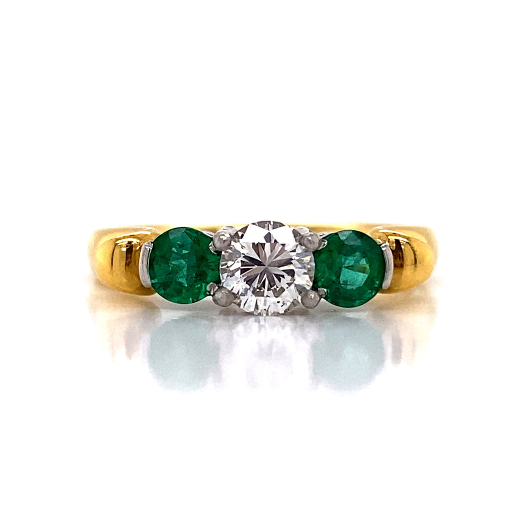 Diamond with Side Emeralds Engagement Ring