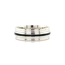Load image into Gallery viewer, Platinum & Black Wedding Band