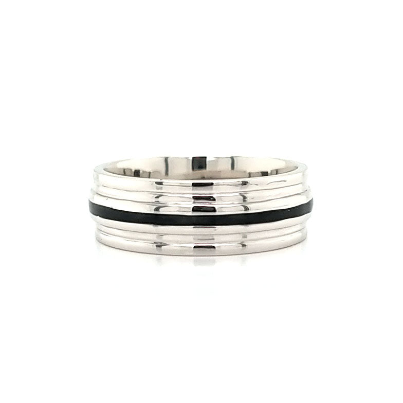 Platinum & Black Wedding Band