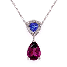 Load image into Gallery viewer, Rhod & Tanzanite. Pendant with Diamonds
