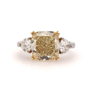 Yellow Cushion Center Engagement Ring