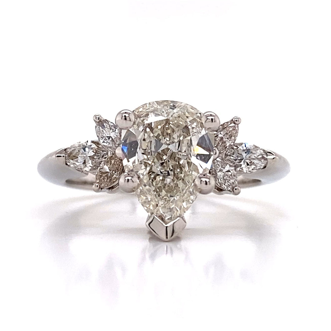 Diamond Tear Drop Engagement Ring