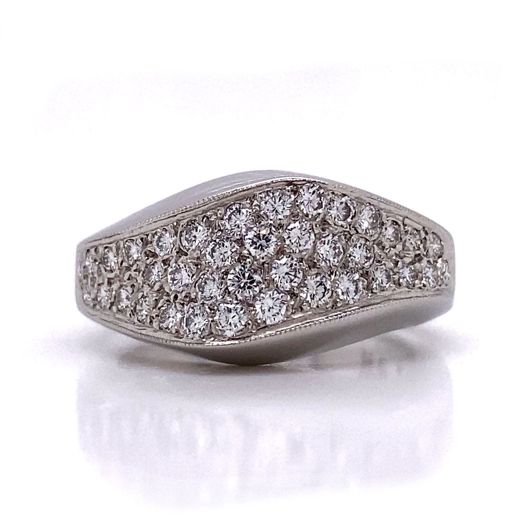 Elongated Pave Diamond Ring