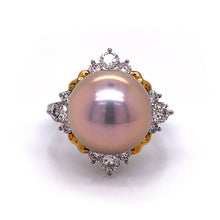 Load image into Gallery viewer, Two Tone Pink Pearl Ring