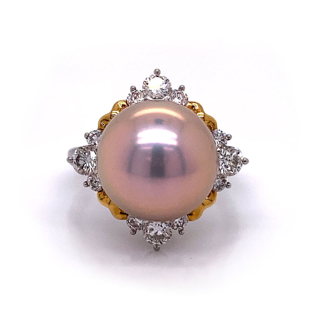 Two Tone Pink Pearl Ring