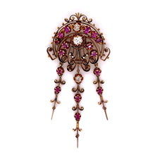 Load image into Gallery viewer, Ruby and Diamond Filigree Pin