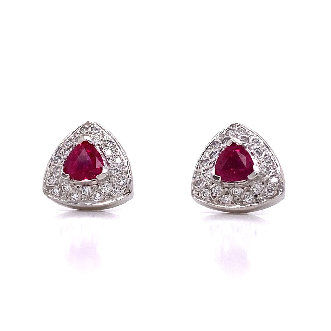 Trillion Ruby and Diamond Earrings