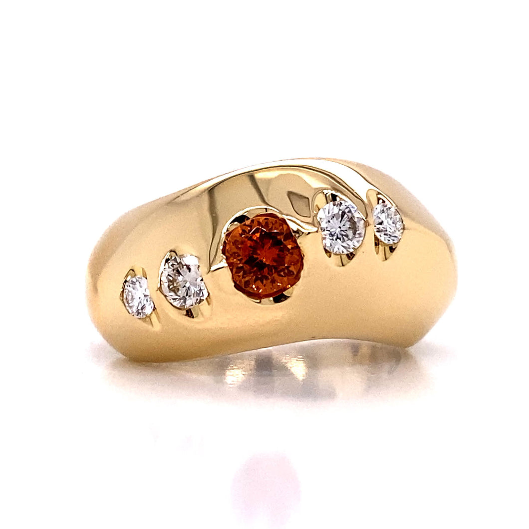 Wave Spessartite Garnet Band Ring