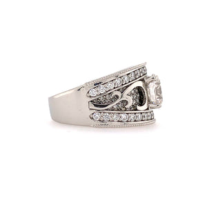 Custom made Diamond Band with Pave and Scroll