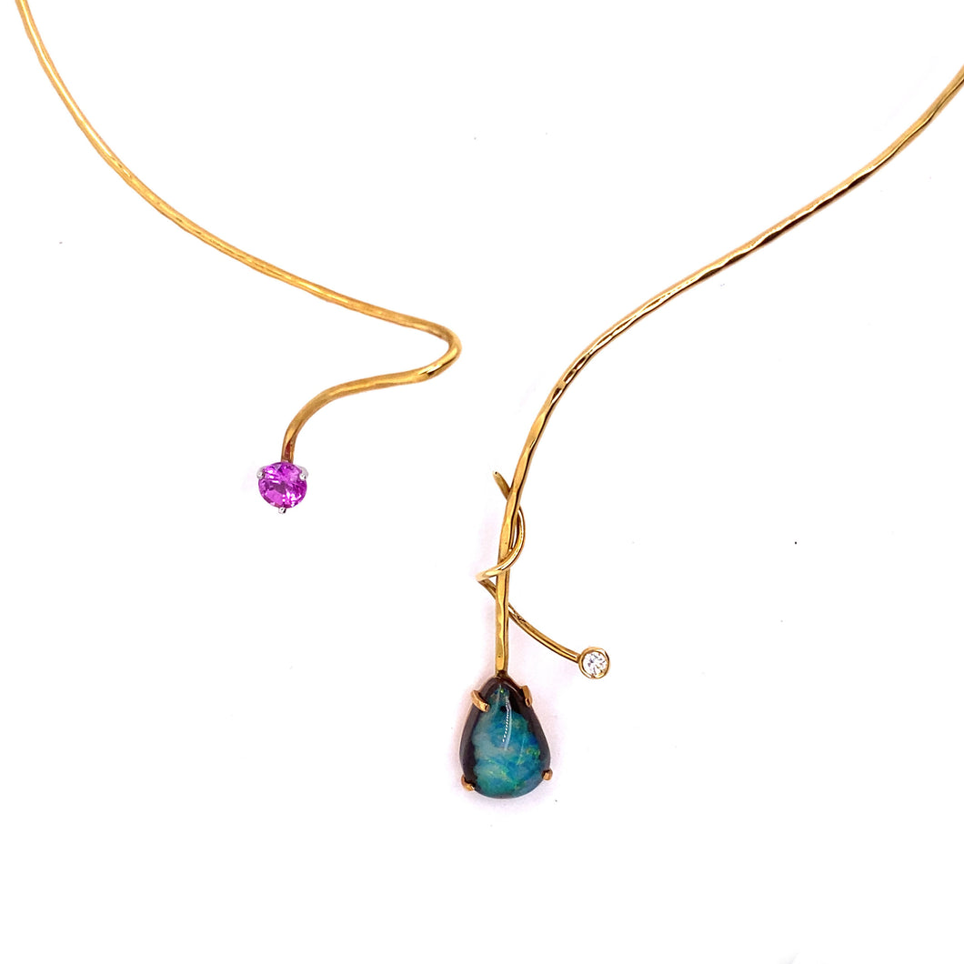 Opal & Pink Sapphire Wire Pendant