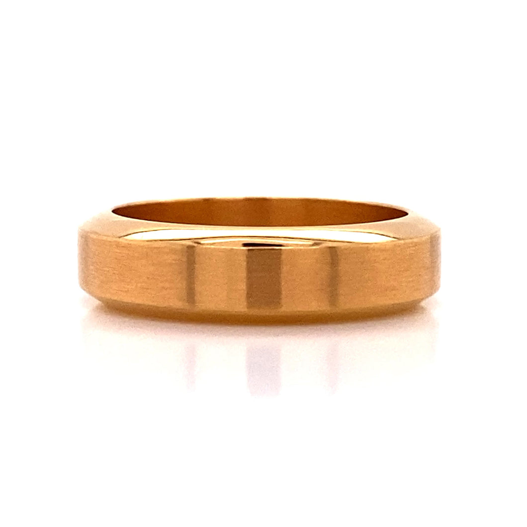 Gents 18kr Polished Thick Bevel Ring