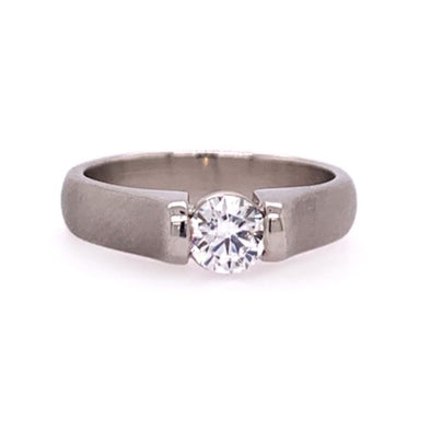 Matte Solitaire Engagement Ring
