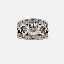 Load image into Gallery viewer, Custom made Diamond Band with Pave and Scroll