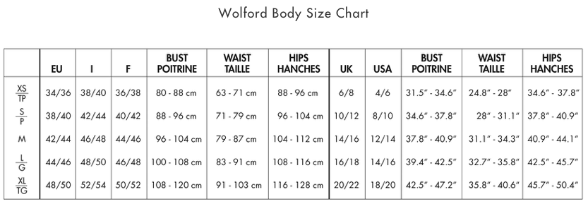 Wolford body size chart from the hosiery box