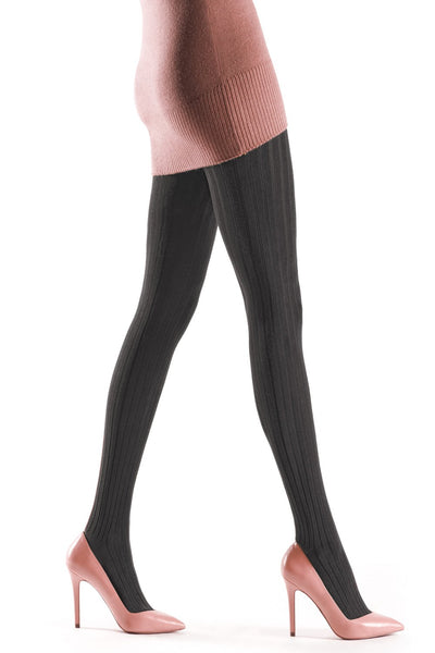 Natural Fibres Ribbed Tights