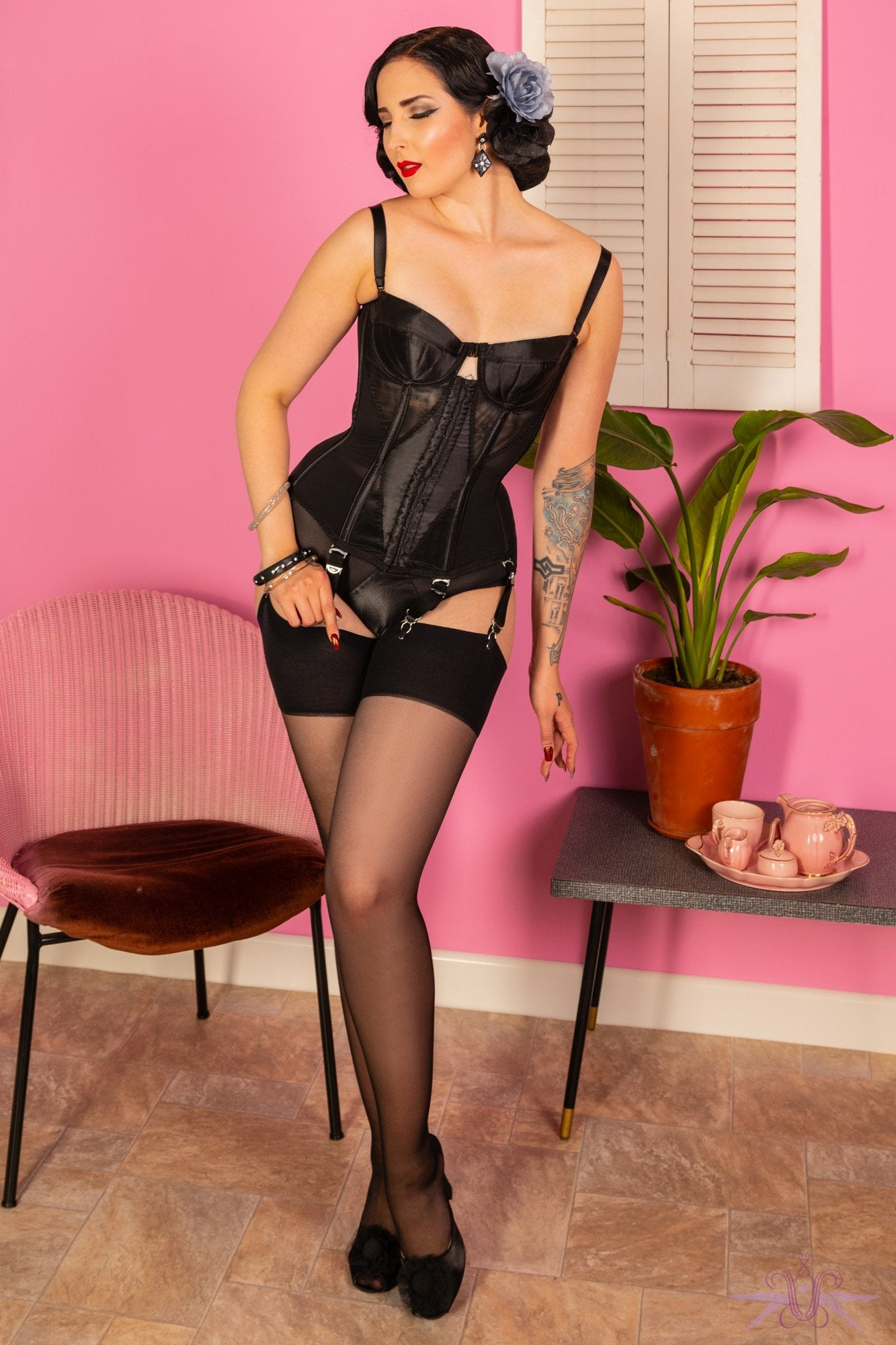 What Katie Did Black Seamed Stockings - The Hosiery Box