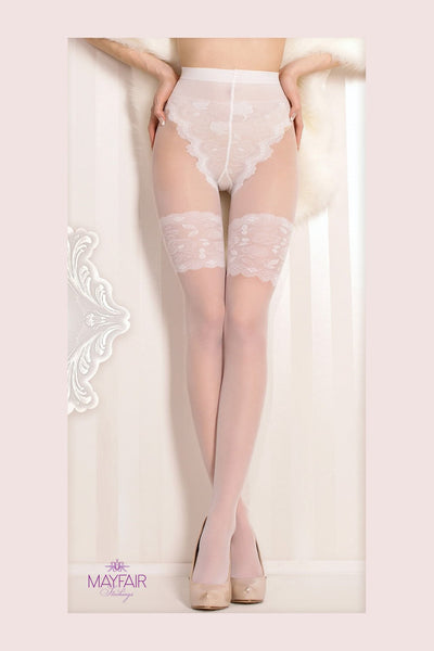 Ballerina Faux Hold Up Bridal Tights - The Hosiery Box