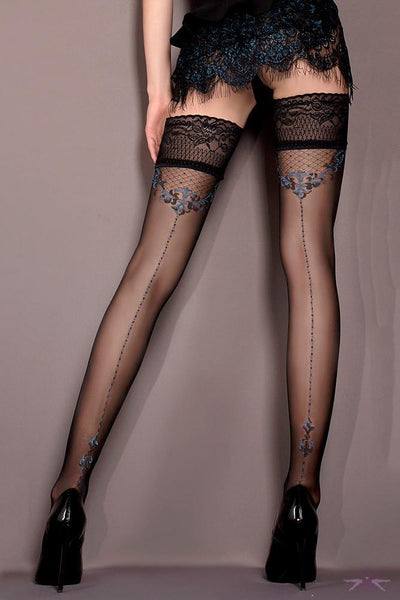 Ballerina Black and Blue Seamed Hold Ups - The Hosiery Box