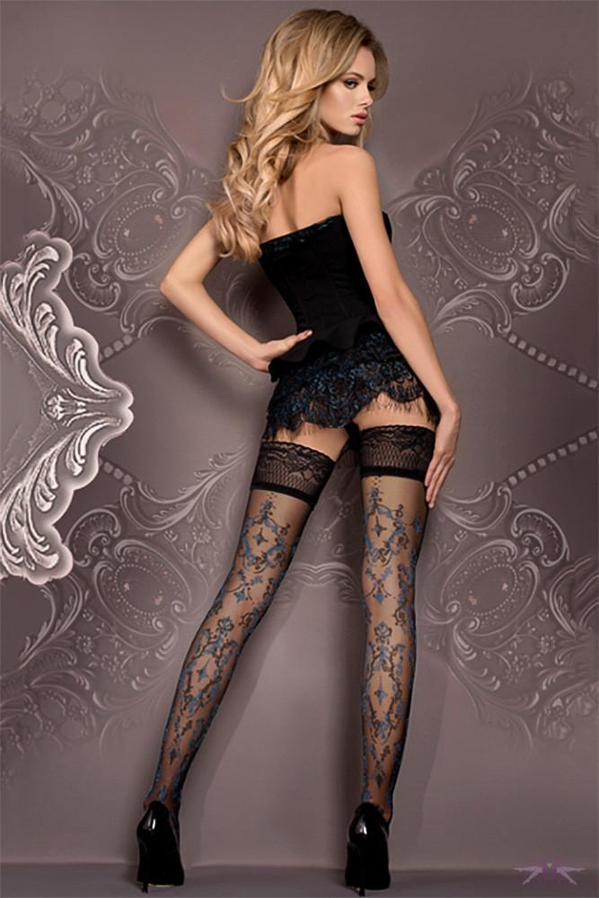 Ballerina Black and Blue Floral Hold Ups - The Hosiery Box